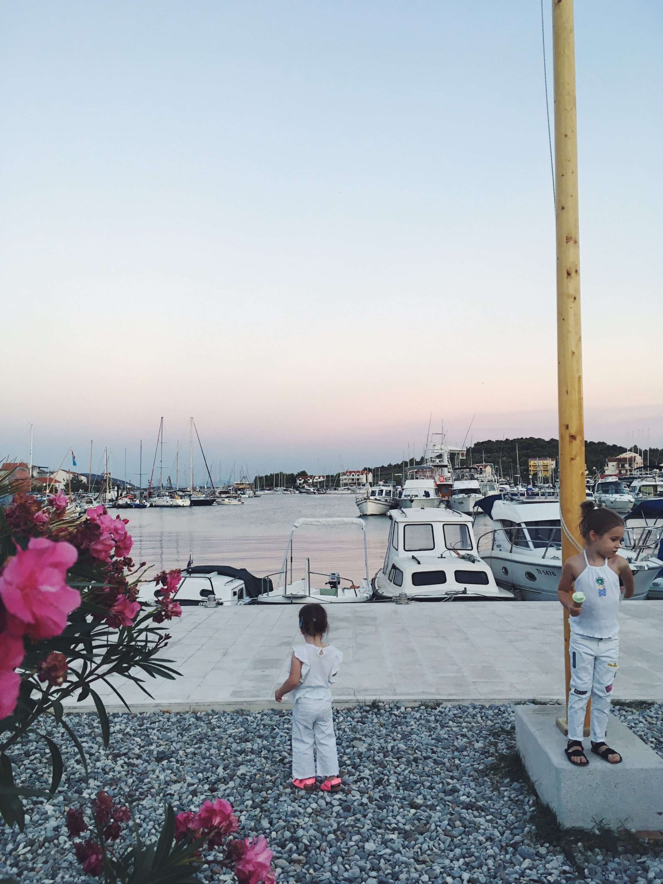 Murter Island Croatia full of life free spirit nature mom blogger jezera tisno happiness mama blogerica traveling kids lifestyle sea adriatic jadransko more more less ines blogger travel boat summer ads riva venture sunset sisters flowers riva jezera