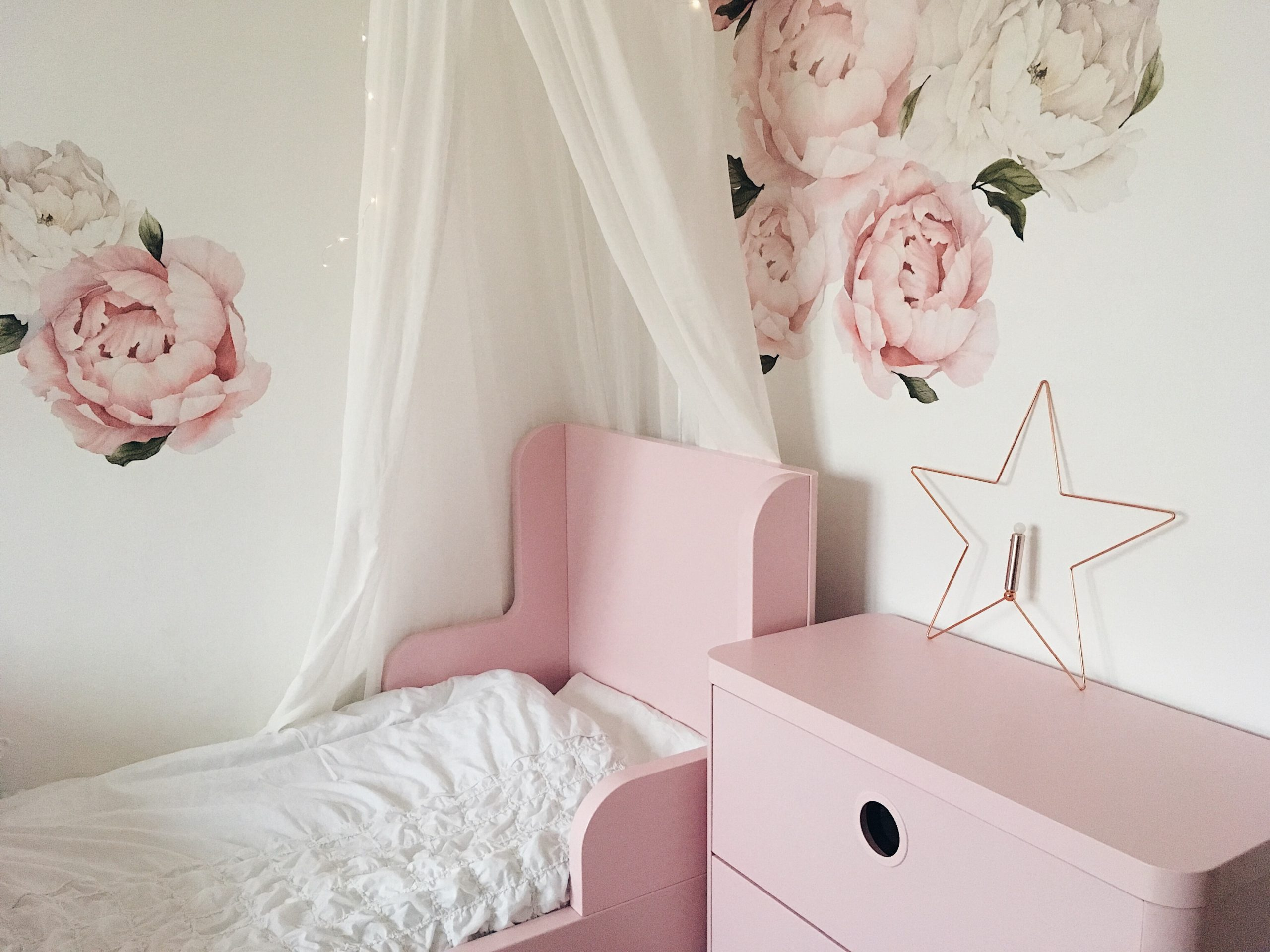 interior kids styling kids decor decorating diy peony flower boho magic ikea interiors scandinavian simplicity decals wall paper flowers home busunge bed girly girlsroom room kidsroom nursery dječja soba deokoracija more less ines mama blogerica mom blogger