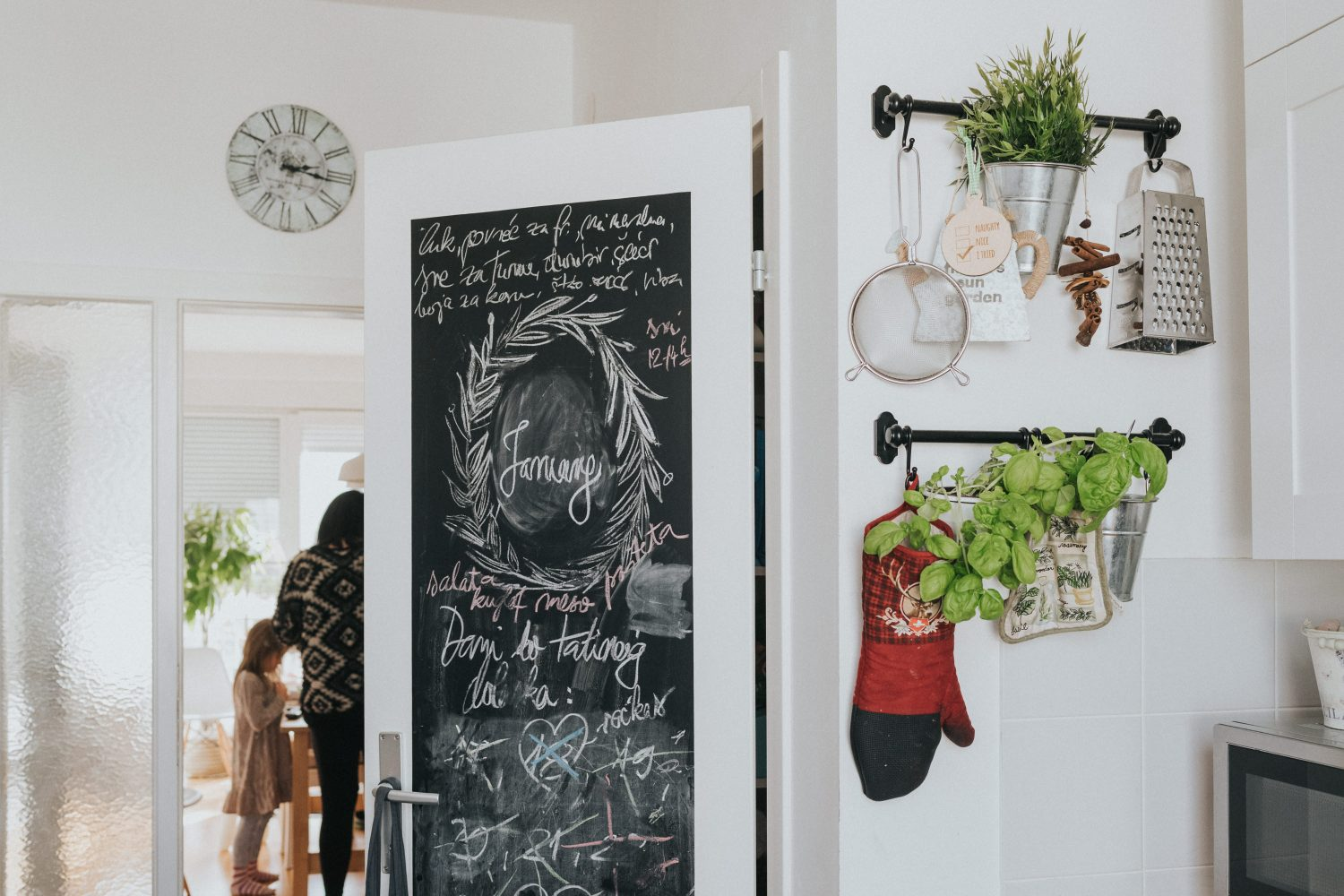 kitchen with a chalk board
