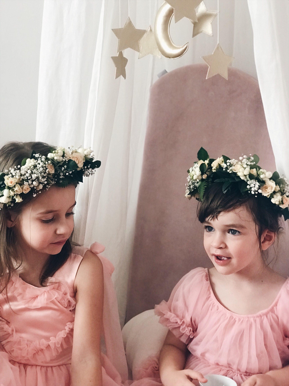 cvjetna kruna za djevojčice ružičasta haljina