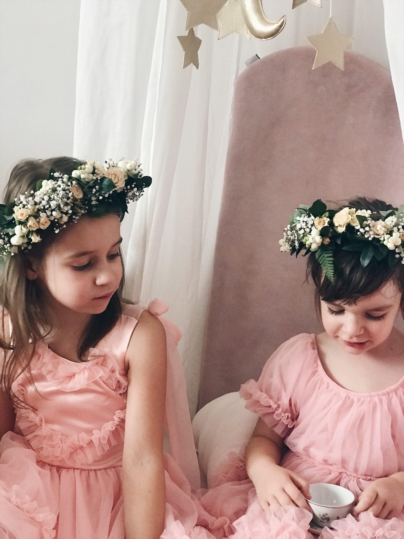cvjetna kruna za djevojčice roza haljina
