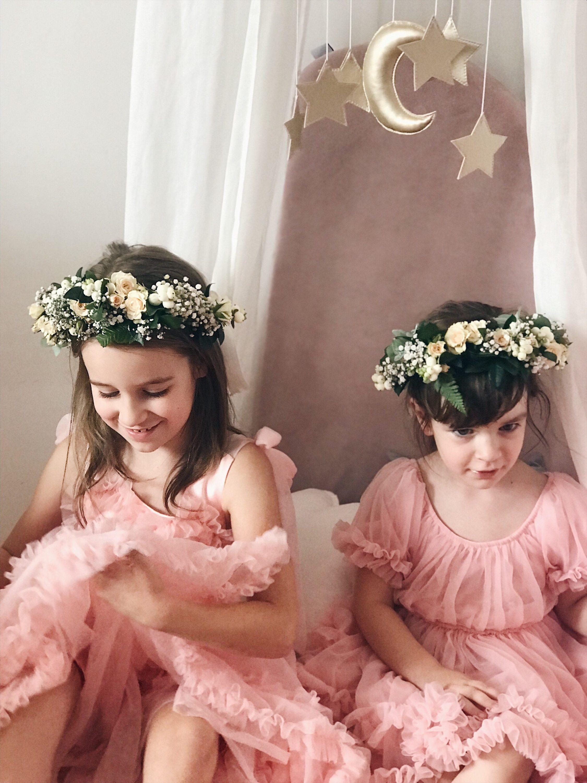 djevojčice roza haljina cvjetna kruna za kosu