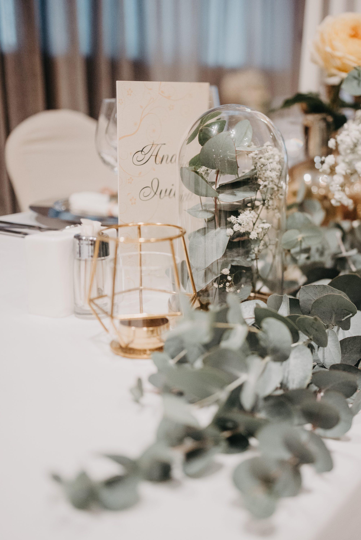 Dekoracija sale za vjenčanje eukaliptusom ana i ivica menu