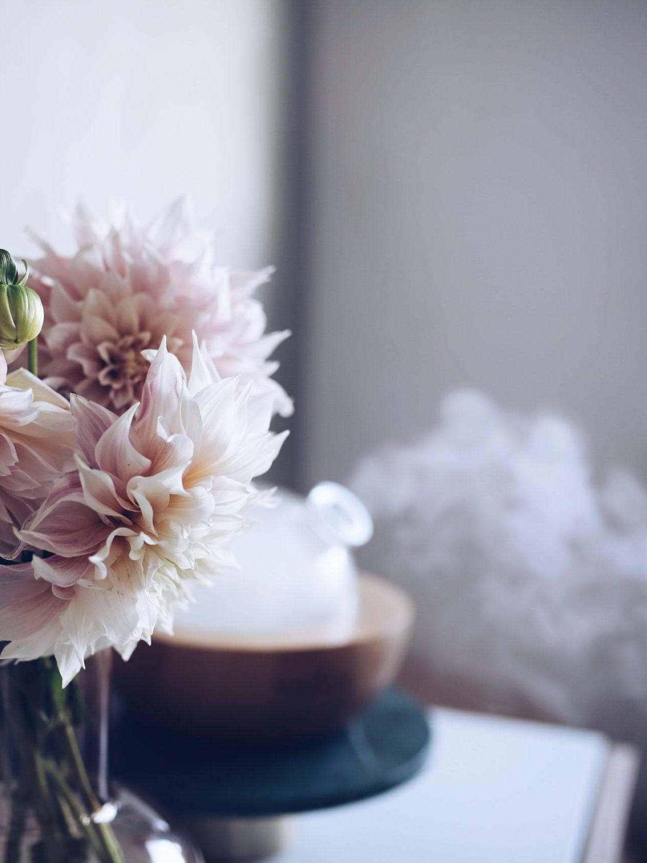 Cvijeće u vazi u pozadini Aria difuzor